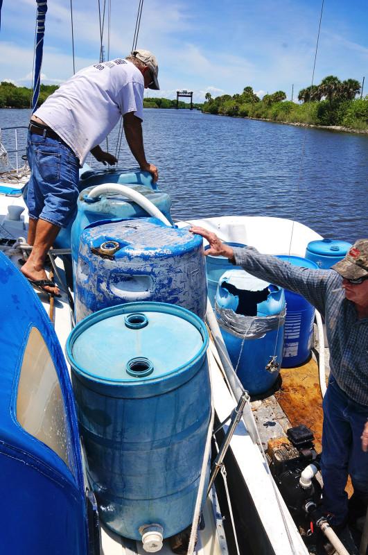 filling water barrels