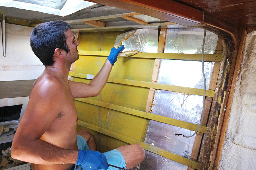 tearing out sheet insulation