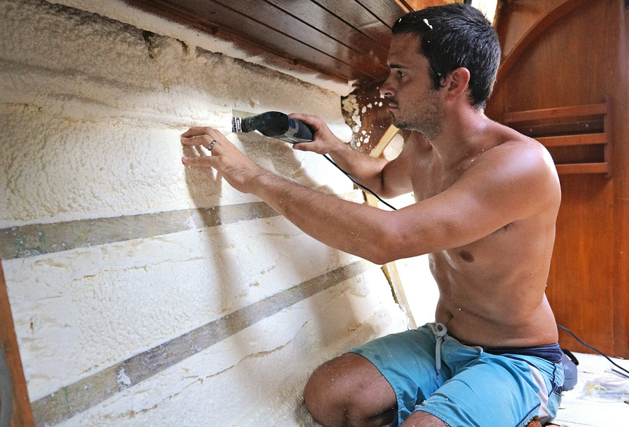 cutting insulation from frame
