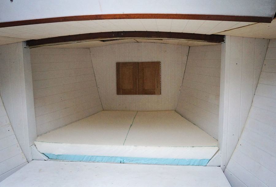 half of v-berth cushion installed