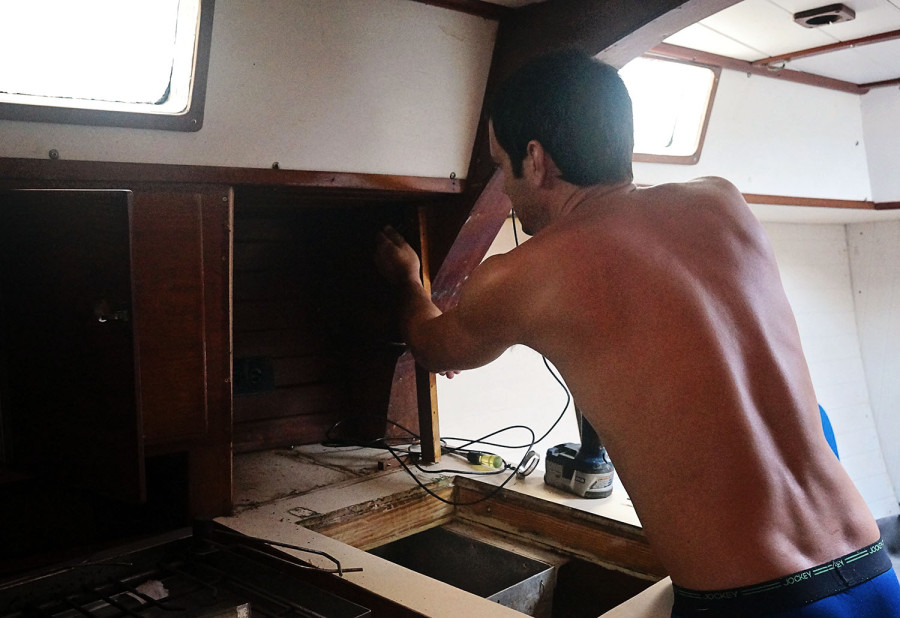 Matt ripping apart galley