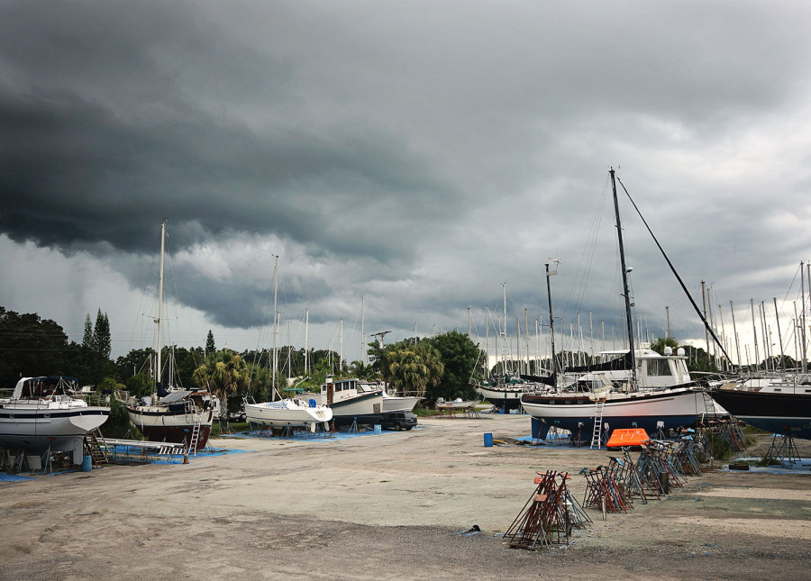 thunderstorms in boat workyard