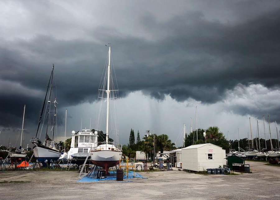 storms over boat work yard