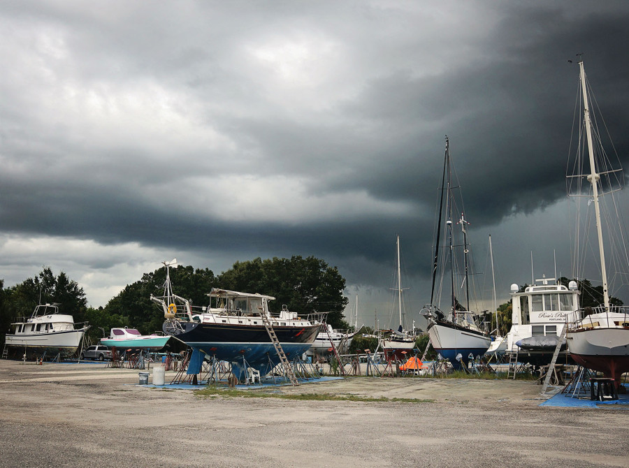 thunderstorms in boat yard