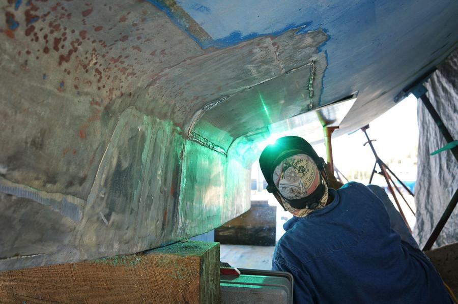 welding new aluminum panel