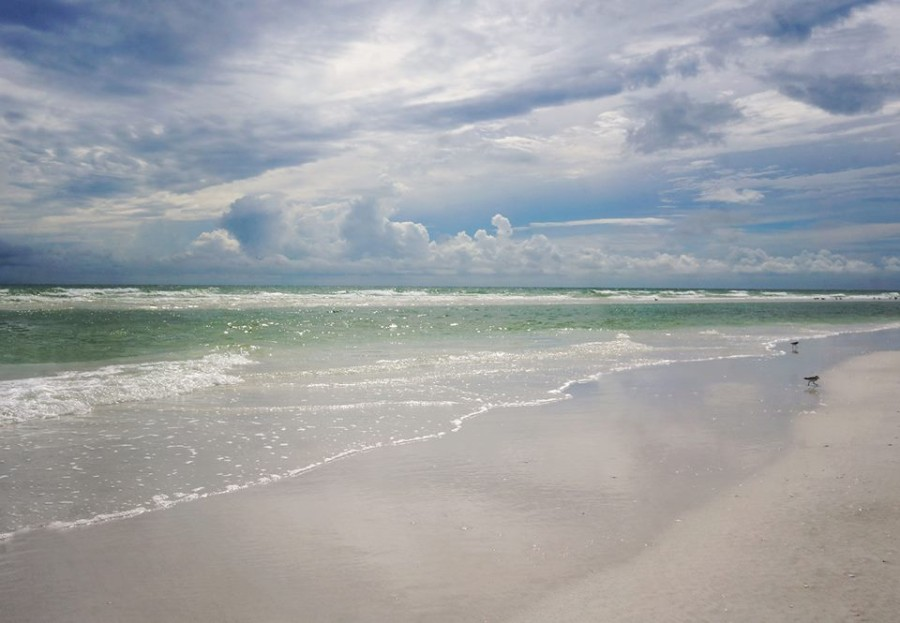overcast skies on Siesta Beach
