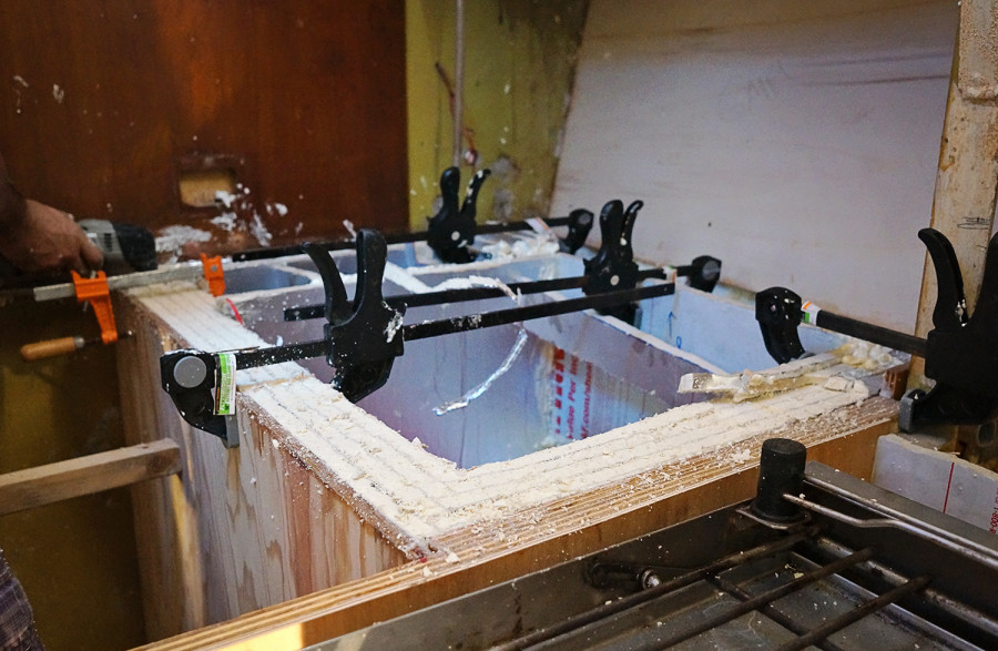clamps holding foam in