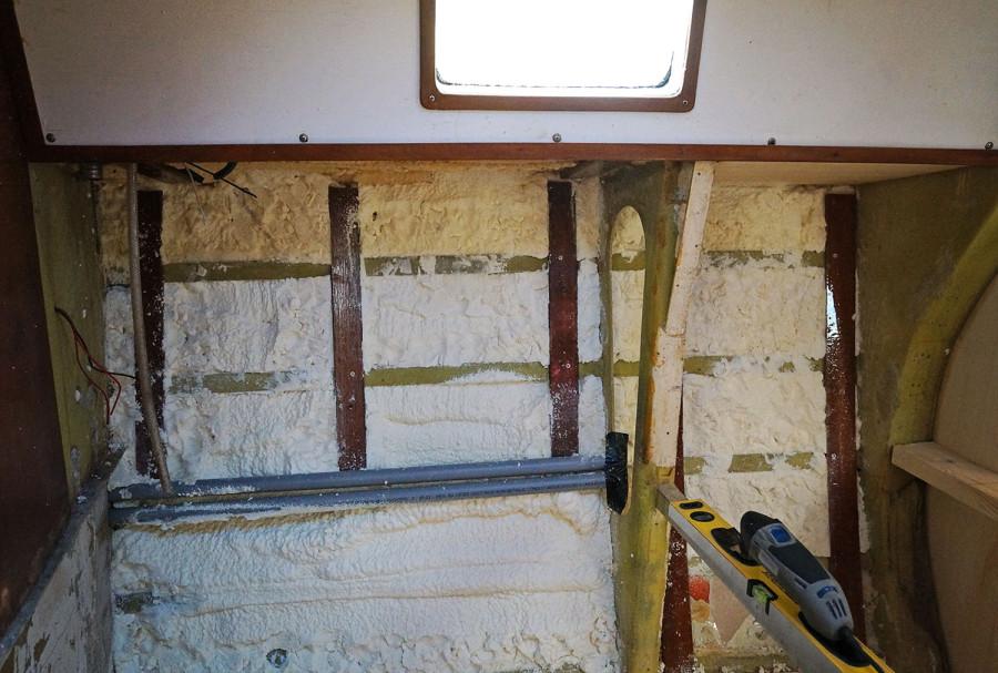 spray foam insulation in galley