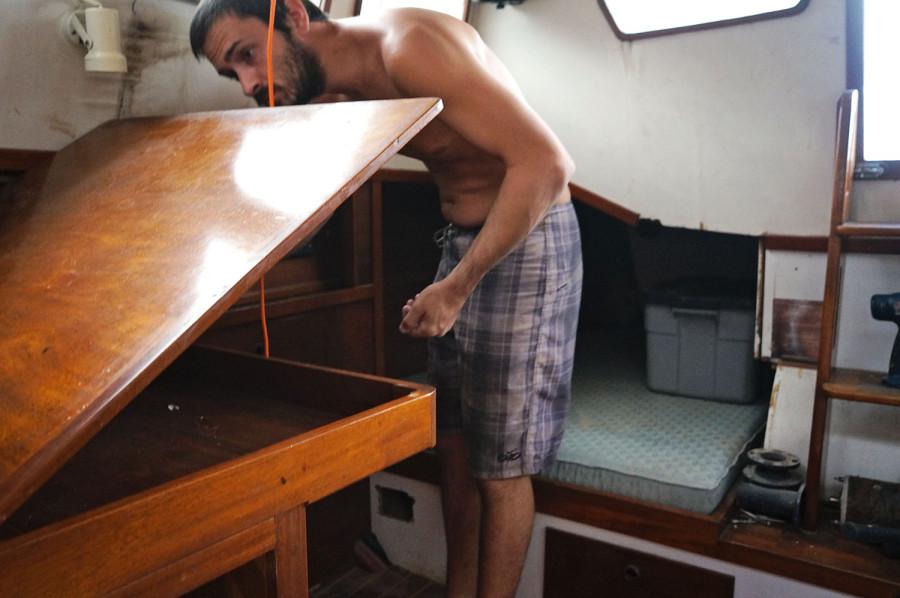Matt clearing pilot house
