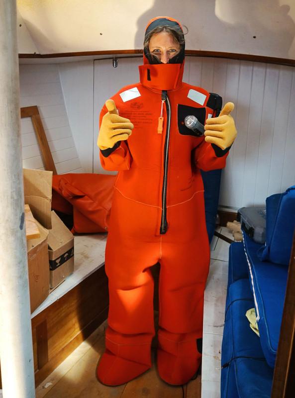 Jessica in survival suit