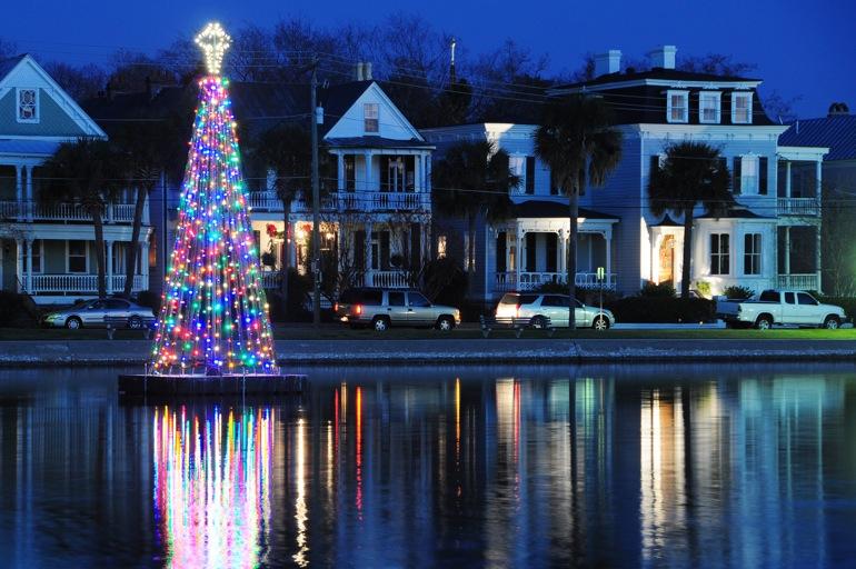 Christmas tree boat in Charleston