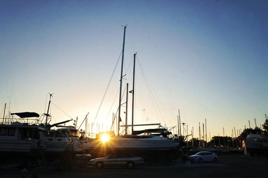 sunset in boat yard