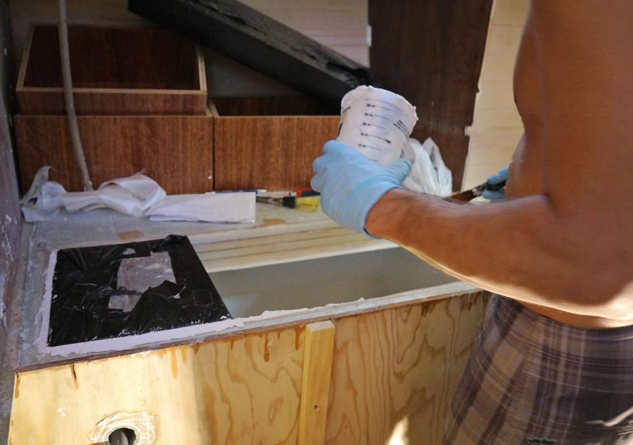 adding filler to foam insulation