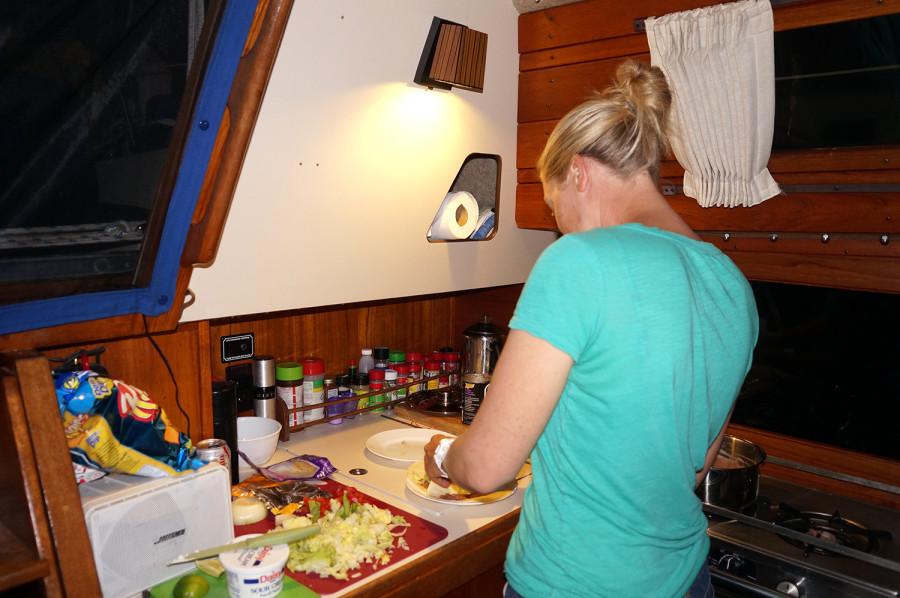 Jackie cooking dinner