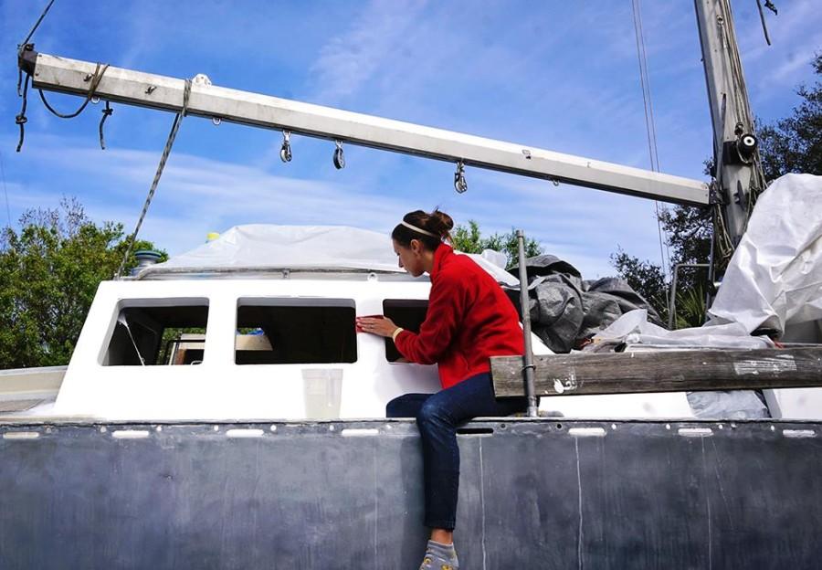 Jessica sanding pilothouse