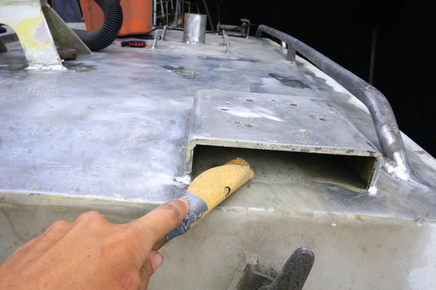 sanding under winch holder