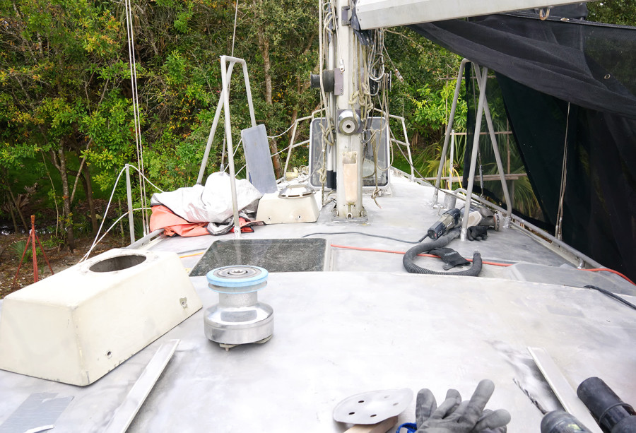 bare aluminum on deck