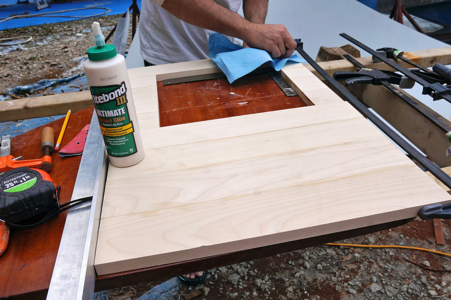 gluing together maple counter top