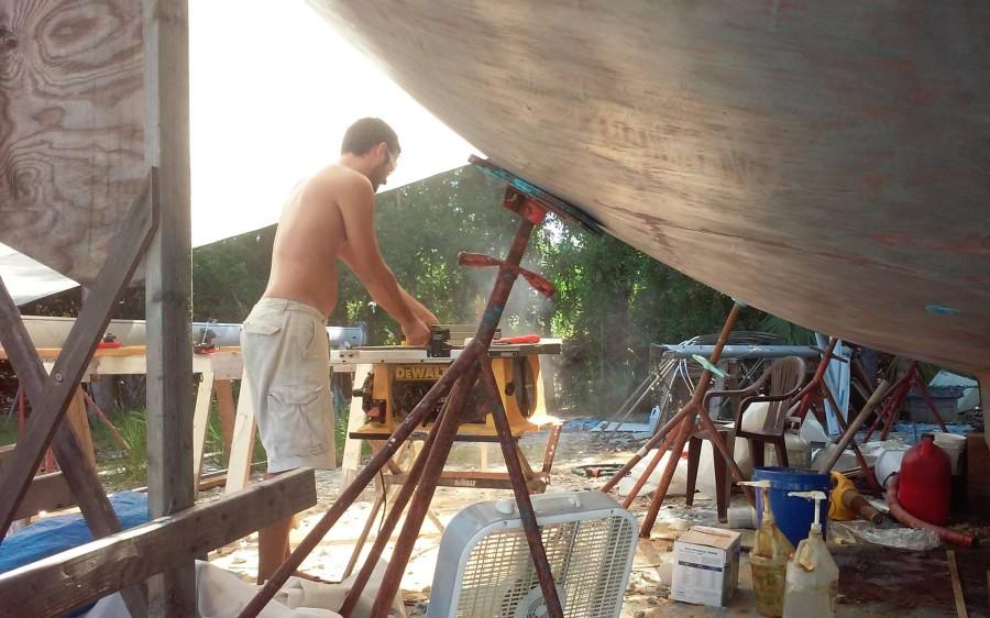Matt cutting wood