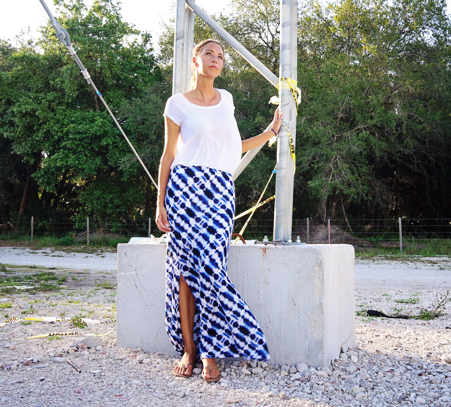 Vacay Style Ikat skirt white top